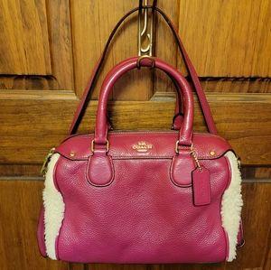 Coach Cranberry & Natural Shearling Mini Handbag Crossbody Bag F36689